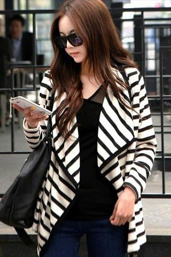 Women'S Stripe Cardigan Long Sleeve Cotton Coat