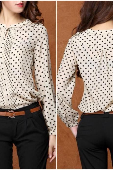 Chic Polka Dots Design Long Sleeve Chiffon Top
