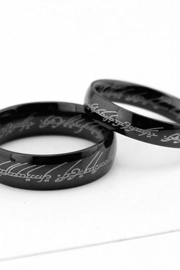 2pcs Black Lord of the rings stainless steel rings, Wedding Couples Rings,his and her wedding ring sets,promise rings,matching rings
