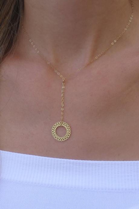 Gold Necklace - Circle Necklace, Simple Circle Necklace, Gold Eternity Necklace, Gold Jewelry, Delicate Gold Necklace, Gift idea