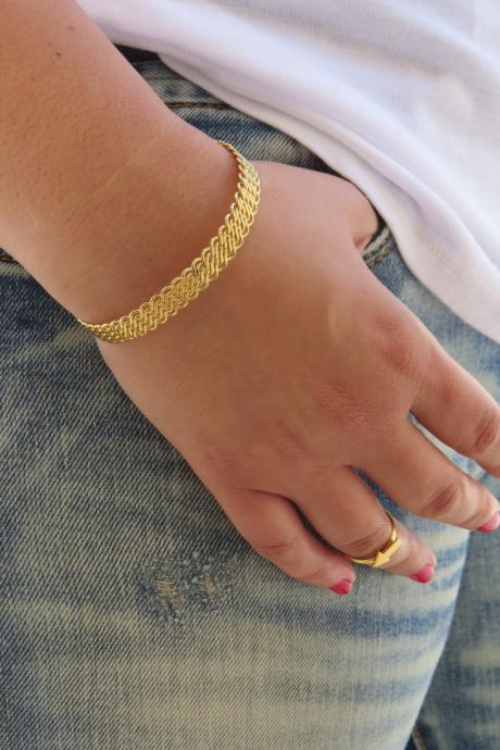 Gold bracelet ,Gold bangle, Gold cuff bracelet, Bangle bracelet, Stacking bangle, Gold filigree bracelet, Bridal Bracelet, Band Bracelet