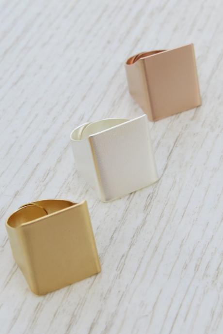 Adjustable ring, Set of 3 wide rings, Square ring, Big ring, Gold ring, Silver ring, Rose gold ring, Statement ring, Rings set, Jewelry gift