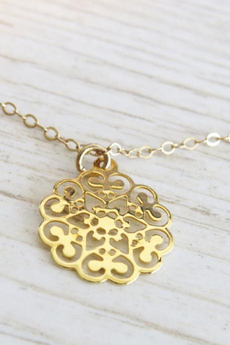 Gold Necklace - Gold Circle Necklace - Dainty gold necklace, Simple necklace, Filigree necklace, Gold jewelry, Gift for her