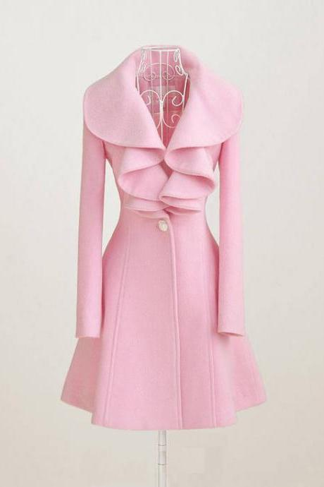 Lovely Pink Winter Falbala Parka Overcoat Cute Pink Falbala Coat Autumn Coat