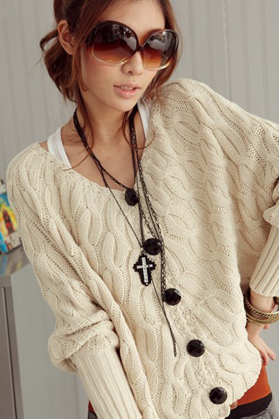 Fashion O Neck Long Sleeve Short Cardigan White Acrylic Sweater