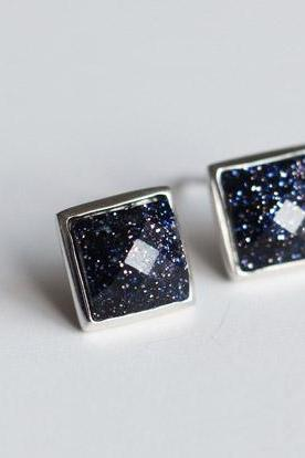 Pretty square starry sky purple sands silver 925 Sterling earrings elegant ear stud ear nail