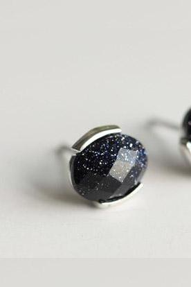 Pretty ellipse starry sky purple sands silver 925 Sterling earrings elegant ear stud ear nail