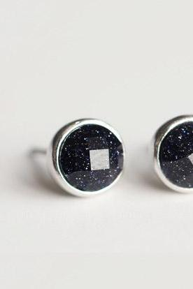 Pretty round starry sky purple sands silver 925 Sterling earrings elegant ear stud ear nail