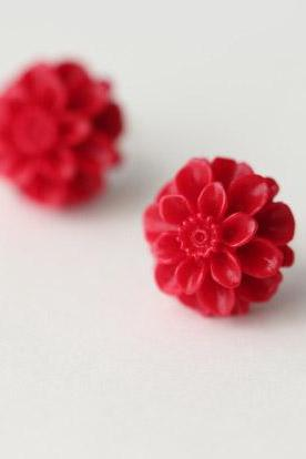 Creamy-white red flower 925 Sterling silver earrings cute elegant ear stud ear nail