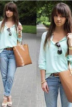 V-neck long-sleeved shirt CX109G