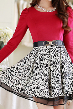 Slim Was Thin Long-Sleeved Dress Stitching Leopard