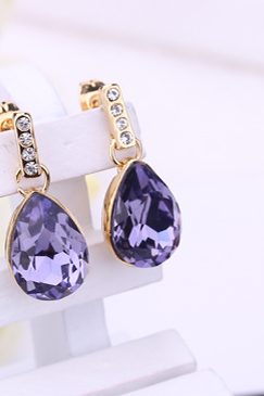 European and American high-end Earrings drop shaped jewelry Austria zircon alloy earrings