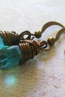 Teal Blue Crystal Earrings, Wire Wrapped Dangle Earrings, Gemstone Jewelry