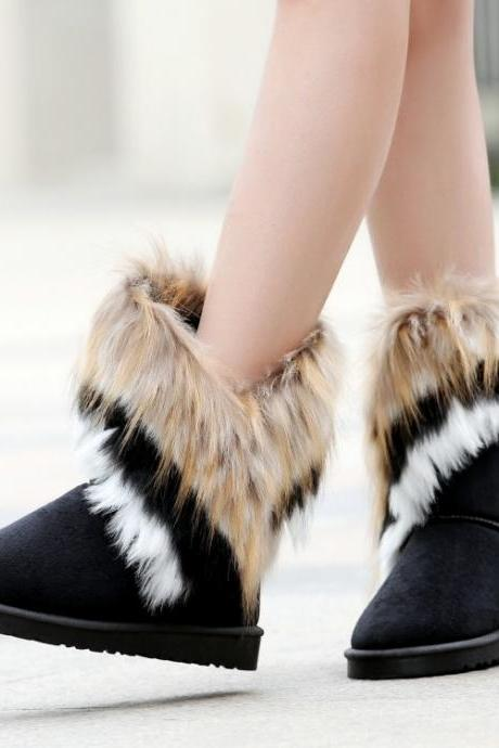 Cheap Winter Fashion Round Toe Feathers Decorated Slip On Flat Low Heel Black Suede Ankle Snow Boots