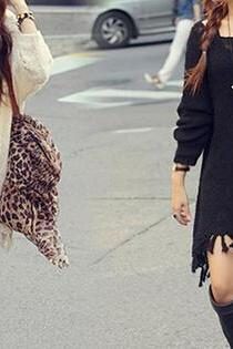 Fashion Loose Long-Sleeved Sweater Dress