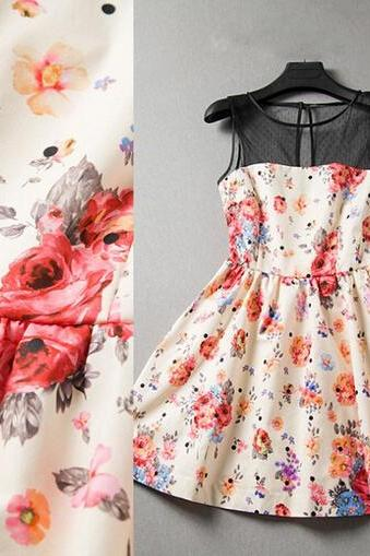Floral Sleeveless Dress Fashion Splicing