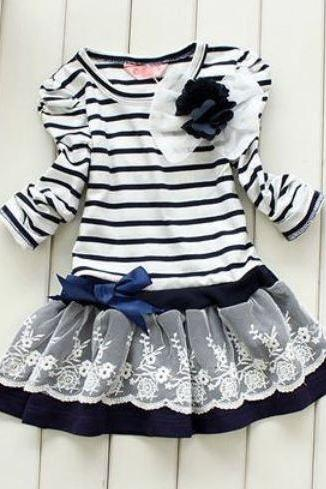 New Navy Blue Stripe Dress for Toddler Dress with Laces