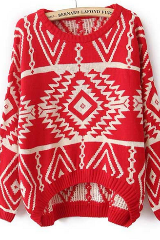 Retro Round Neck Knit Sweater