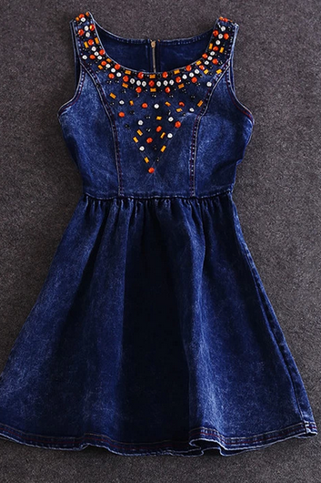 Cotton Denim Vest Dress