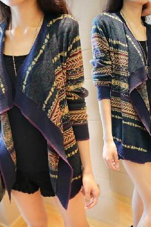 Loose Long-Sleeved Knit Cardigan Jacket