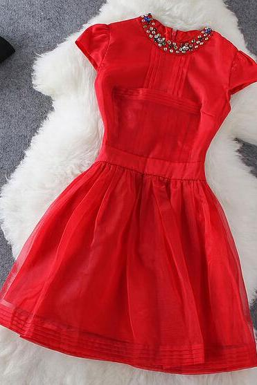 Red Stitching Short-Sleeved Dress