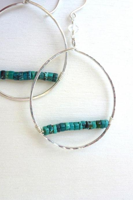 Wire Wrapped Turquoise Earrings in Sterling Silver