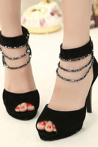 Beaded Ankle Strap High Stiletto Heel Peep-Toe Sandal