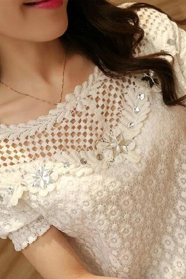 Short-sleeved embroidered lace blouse #AD101010HJ
