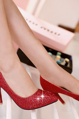 Autumn new wedding shoes red shoes high-heeled shoes shoes bride crystal super shallow mouth shoes