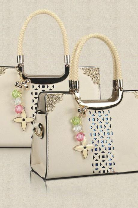 Fashion Cute Candy Color Floral Cutout Handbag - Beige