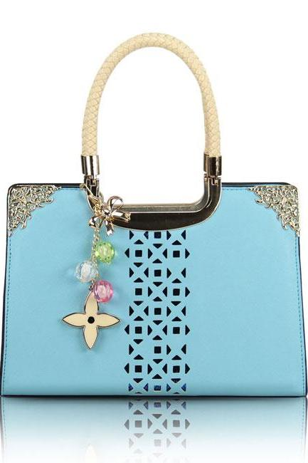Fashion Cute Candy Color Floral Cutout Handbag - Blue