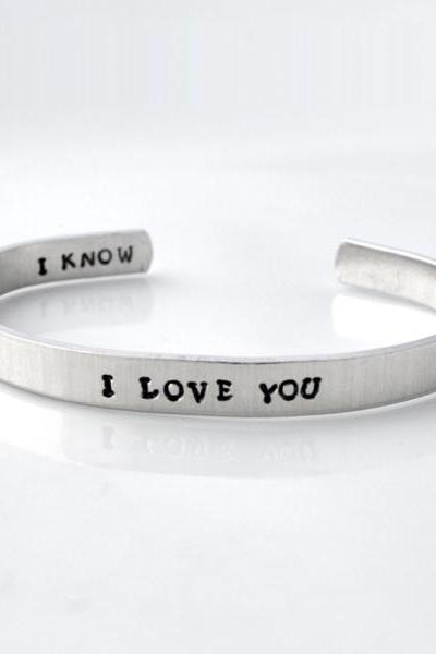 Personalized metal cuff bracelet, custom bracelet, aluminum cuff hand stamped bracelet, I love you, I know