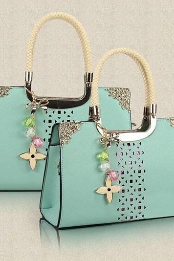 Fashion Cute Candy Color Floral Cutout Handbag - Light Green
