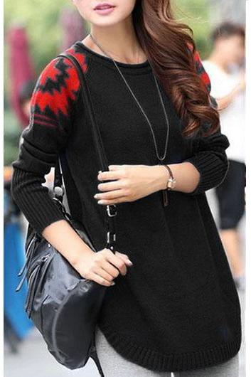 New Style Round Neck Long Sleeve Sweater Pullover - Black