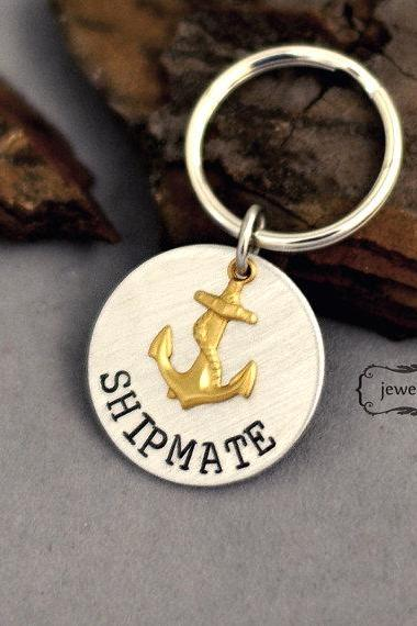 Anchor pet tag, Personalized Pet id tag, anchor charm with aluminum disc, nautical by jewelmango