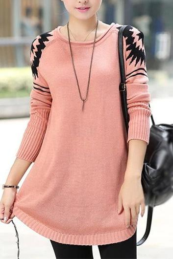 New Style Round Neck Long Sleeve Sweater Pullover - Pink