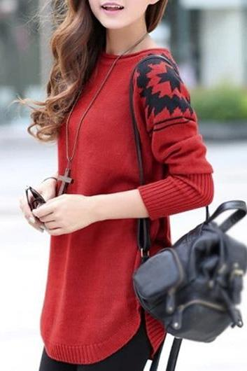 New Style Round Neck Long Sleeve Sweater Pullover - Red