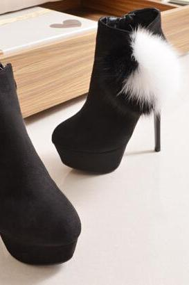 New winter boots high heeled fine with the women's singles round sexy female boots thick soled boots female