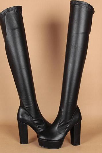 In the autumn of 2015 new high-heeled knee high boots waterproof boots boots with son Martin crude