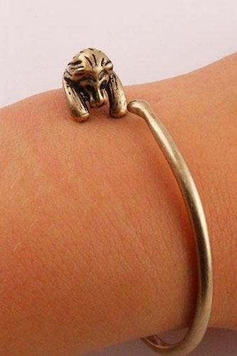 Animal Wrap Bracelet - Lion - Gold