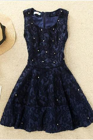 2015 qiu dong Han edition temperament nail bead lace dress Thickening sleeveless lace backing princess dress skirt