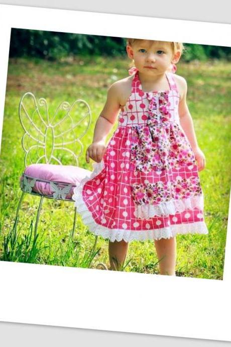 Sewing Pattern for Apron Dress, Ages 12 months to 10 years, Beginner Level