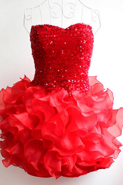 Sequins falbala short section of small dress bridesmaid dress strapless dress theatrical costumes dance skirt cake