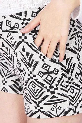 Geometric Print Casual Summer Short Pants Trousers Shorts