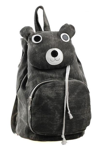 Lovely Cute Cartoon Bear Leisure Canvas Backpack - Black
