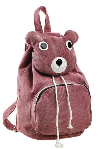 Lovely Cute Cartoon Bear Leisure Canvas Backpack - Pink