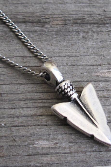 Men's Necklace - Blackend Silver Plated Spear Pendant - Mens Jewelry - Spear Jewelry - Gift For Him