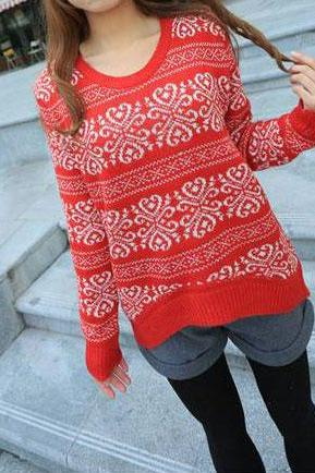 Loose Fitting Snowflake Knit Sweater - Red