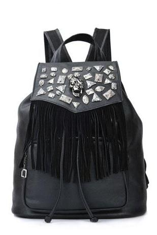 Classic Hardware Rhinestone Tassels Skeleton Punk Drawstring Backpack Bag