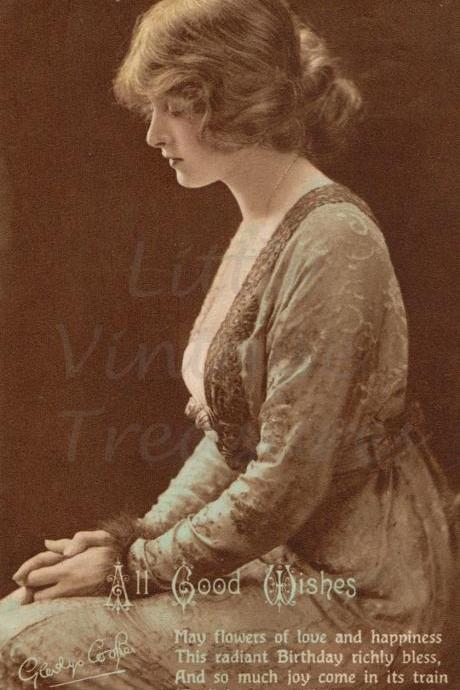 Vintage Gladys Cooper Printed Birthday Greetings Card 1917